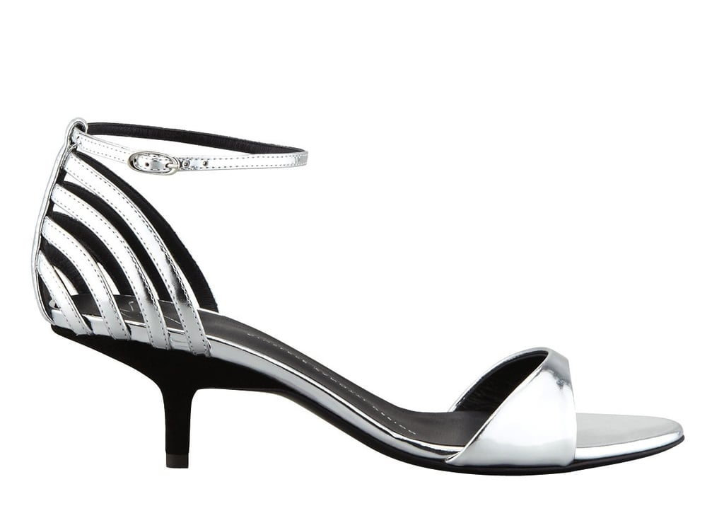 The silver-mirrored effect of Giuseppe Zanotti's open-toe low-heeled d'Orsays ($297, originally $595) provides the kind of high-shine polish that doesn't feel too crazy for an office look.