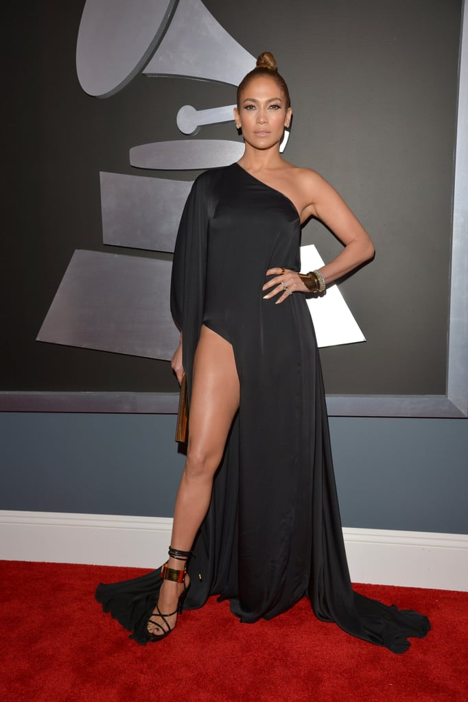 Jennifer Lopez wore a black one shoulder gown at the Grammys.