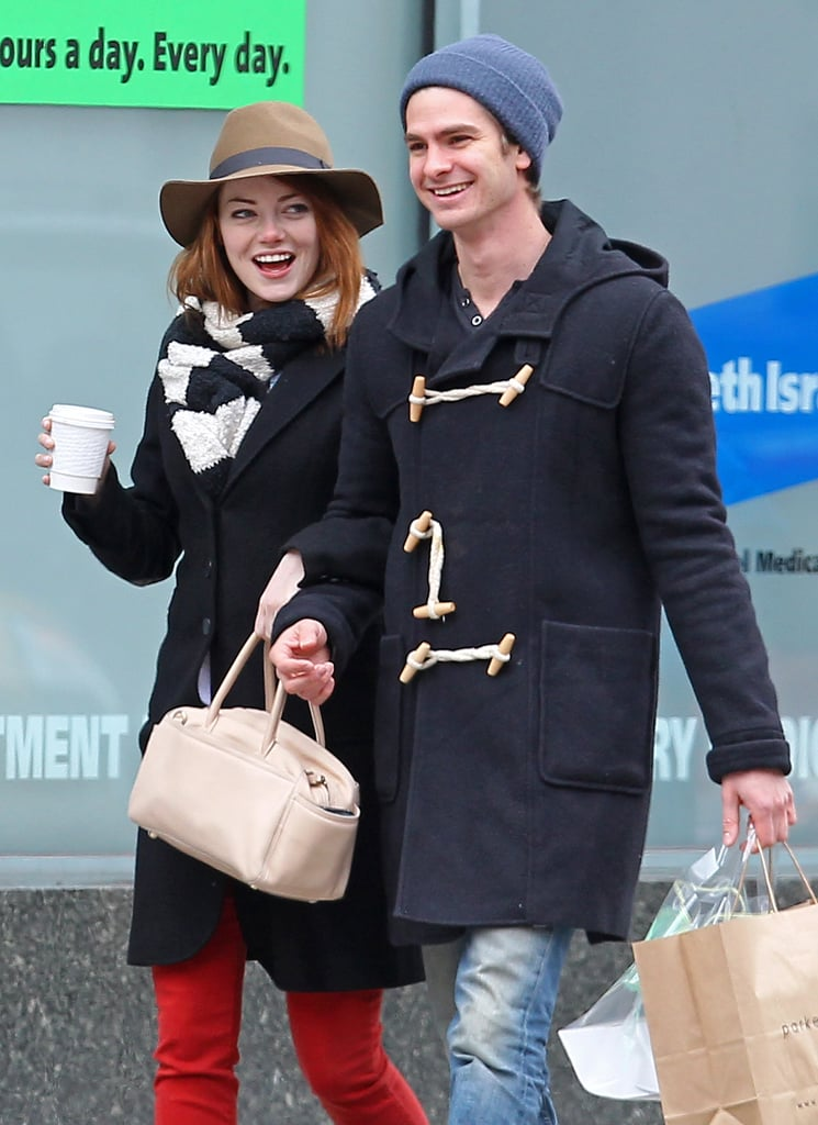 Emma Stone and her boyfriend, Andrew Garfield, shared a smiley stroll through NYC in January 2012.