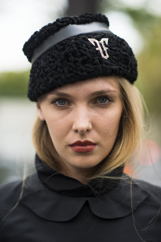 The burnt-orange hue of this woman's lipstick is a great option for Fall. Source: Le 21ème | Adam Katz Sinding