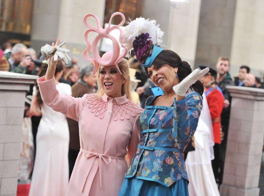 Kathy Lee Gifford and Hoda Kotb in royal wedding outfits.