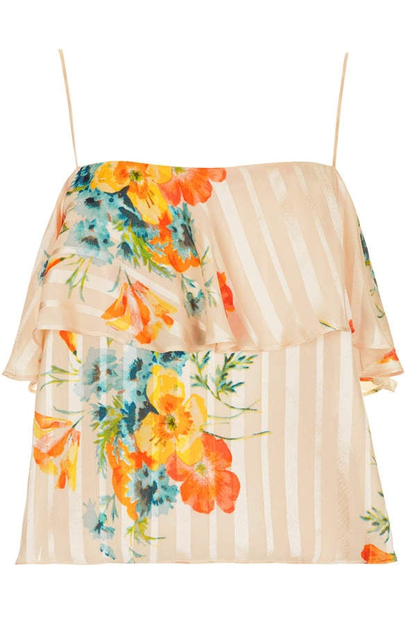 Topshop Floral Ruffle Top