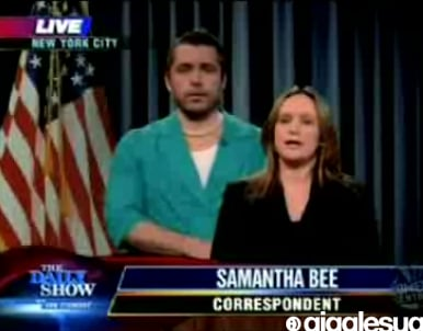 Jon Stewart and Samantha Bee Eliot Spitzer Skit