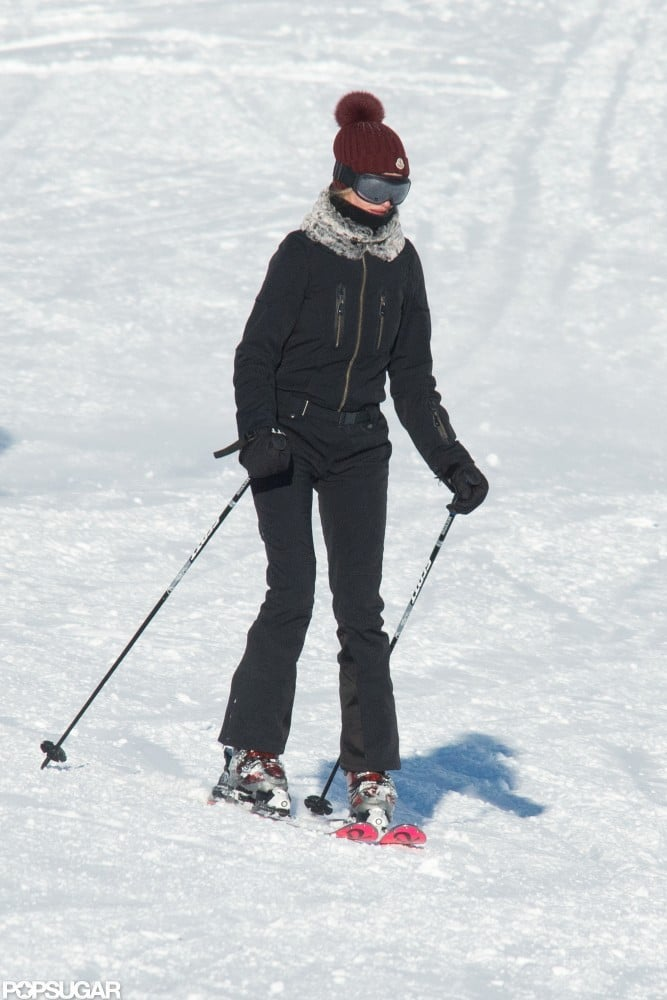 Rosie Huntington-Whiteley wore a black ski suit in the French Alps.