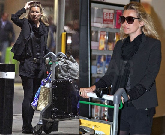 Kate Moss in All Black at London Airport