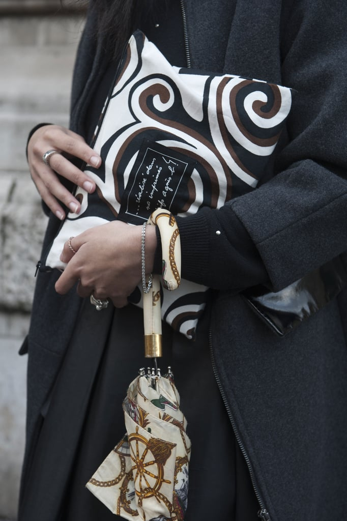A whimsical print zippered clutch was functional and totally cool.