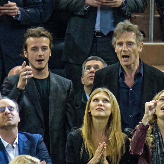 Liam Neeson and Sons at Hockey Game March 2016