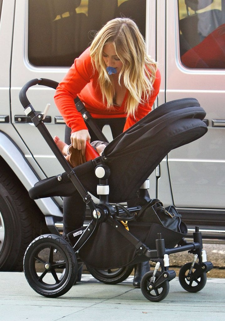 Hilary Duff put her little guy in his stroller.