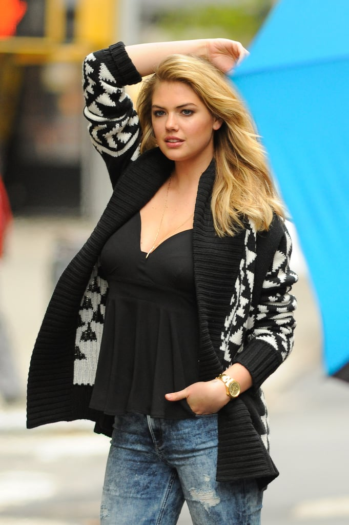On Tuesday, Kate Upton struck a pose in a photo shoot in NYC.