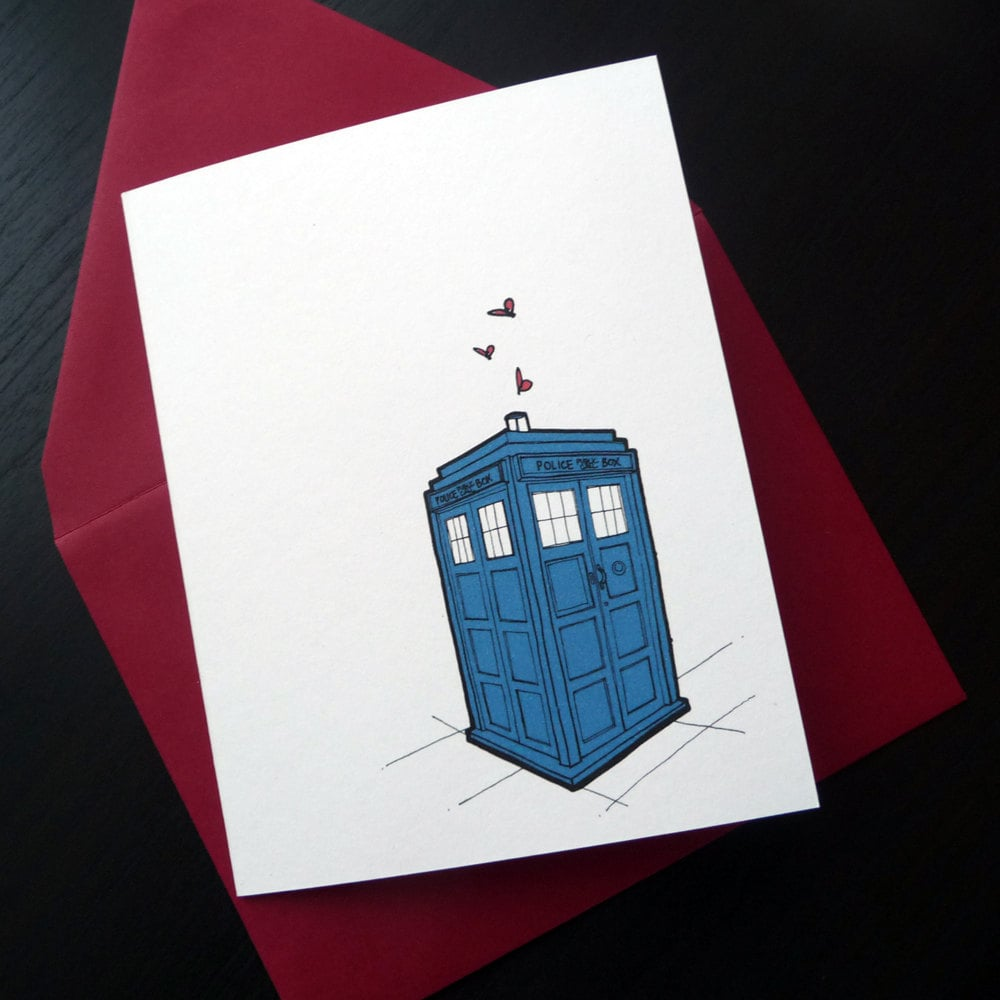 """With an inscription in the card of """"who loves you, baby,"""" how can you turn down a TARDIS card ($5)?"""