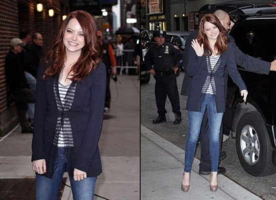 Emma Stone discusses Easy A and tattoos with David Letterman on The Late Show in New York City