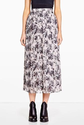 O'2nd Rose Print Pleated Long Skirt