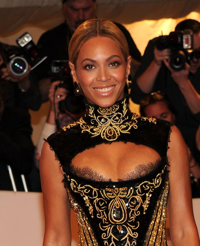 A closer look at the intricate gold embroidery and sexy front cutout of Beyoncé's 2011 Met Gala gown by Emilio Pucci.