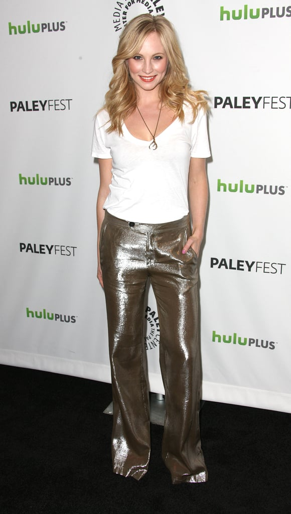 Candice Accola sparkled in silver pants.