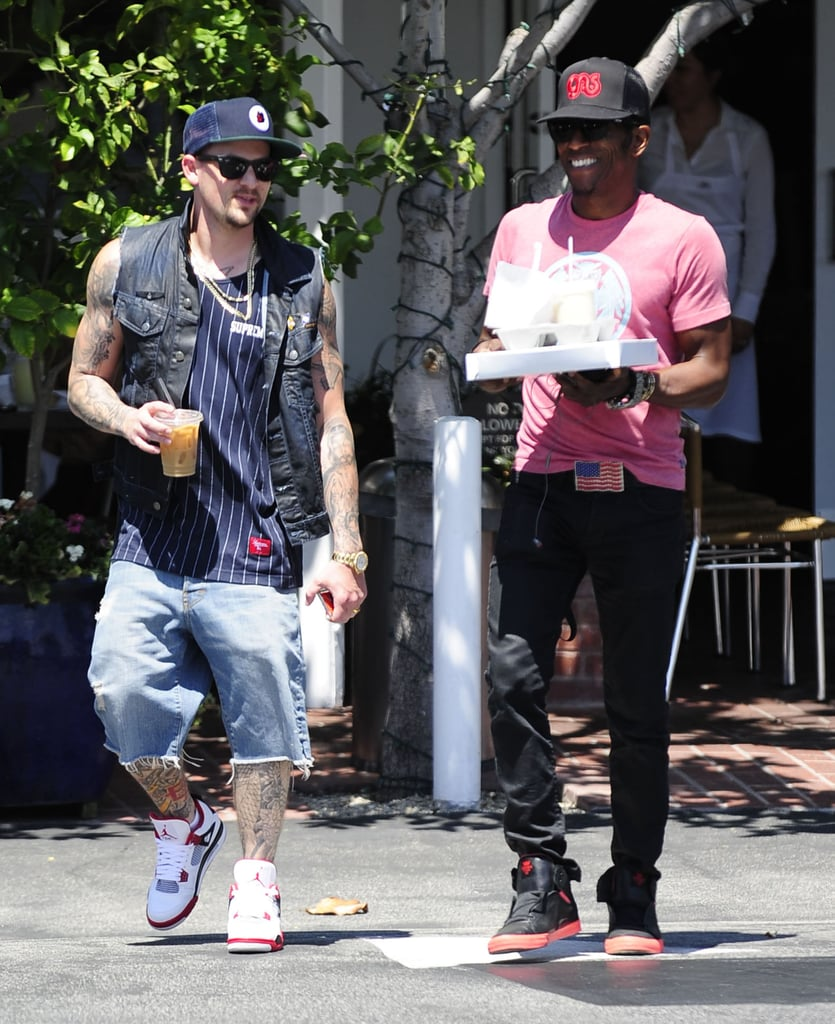 Joel Madden chatted with a friend leaving Fred Segal.