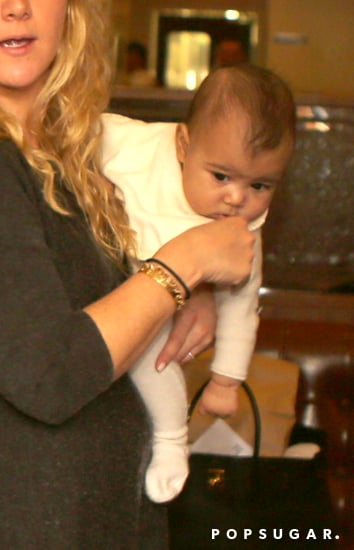 North West wore a white one piece.