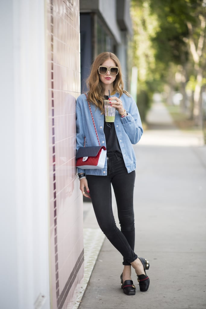 With a roomy denim jacket and practical footwear