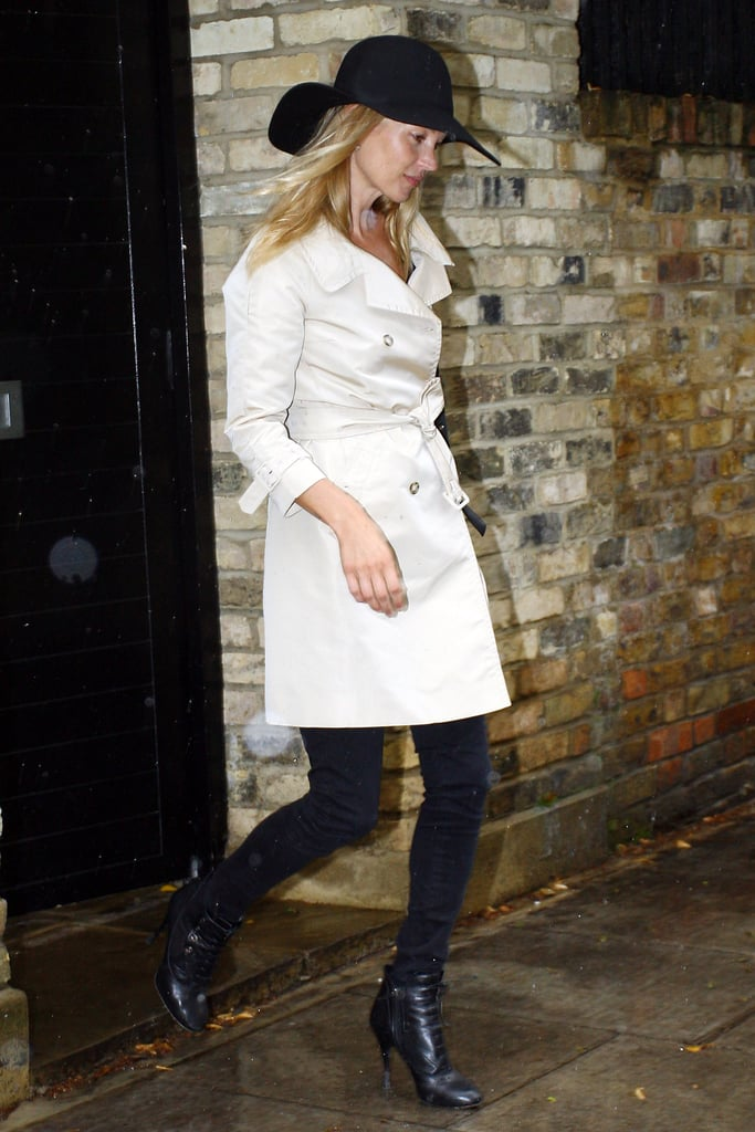 That floppy hat made another appearance with Kate's classic trench and black skinnies.