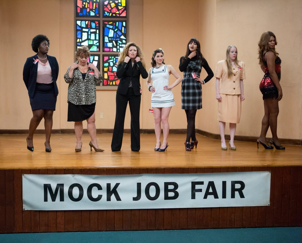 The ladies of Orange Is the New Black take part in a mock job fair. Source: Netflix