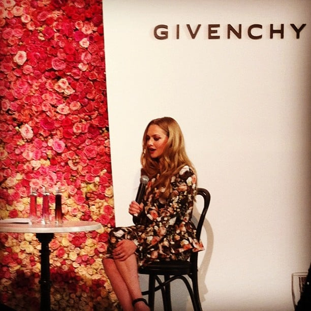 Amanda Seyfried wore florals for the Givenchy Very Irresistible fragrance press conference. Source: Instagram user nylonmag