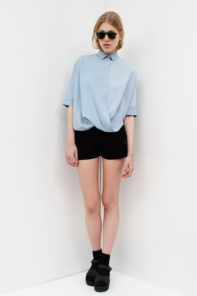 My year-round uniform is a denim-on-denim ensemble, and I have more chambray tops than I like to admit, but I'm justifying this Assembly New York ($268) purchase because of the details: lightly twisted with a boxy silhouette. I can't say I own anything remotely similar to it.  — Meg Cuna