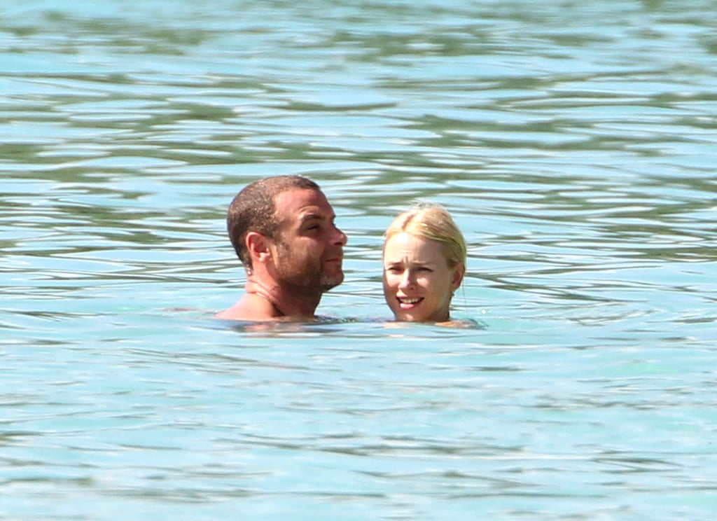 Naomi Watts and Liev Schreiber took a swim together in the ocean in Barbados.