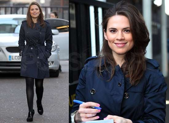 Photos of Hayley Atwell at GMTV Cast as Peggy Carter in Captain America Alongside Chris Evans