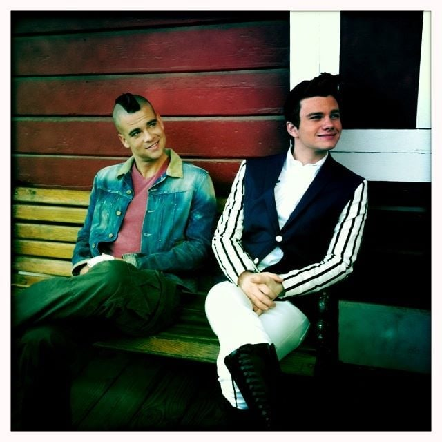 Dianna Agron shared a pic of her Glee costars Mark Salling and Chris Colfer.  Source: Twitter User DiannaAgron