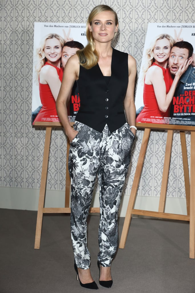 Diane Kruger donned stylish floral pants to step out in Germany.