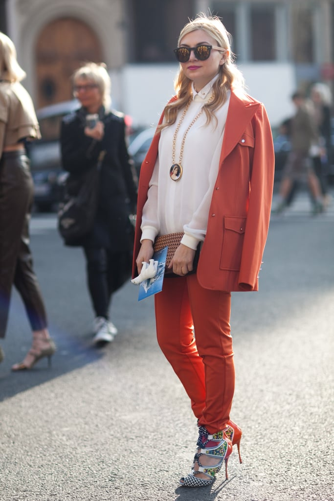 Bright orange met equally statement-making printed heels. Source: Le 21ème | Adam Katz Sinding