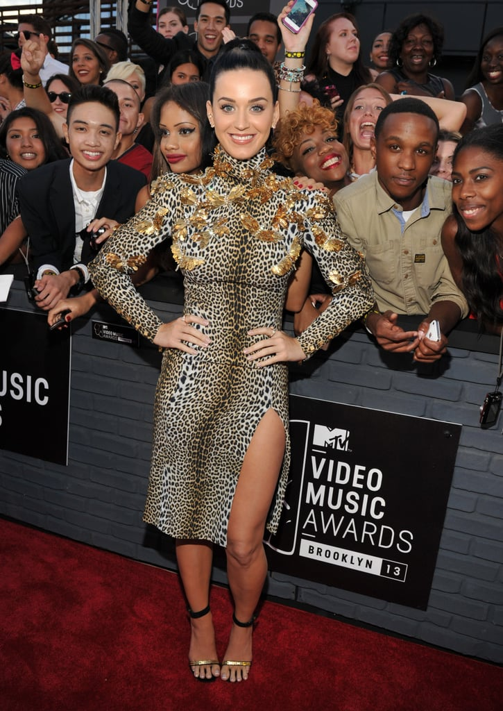 Katy Perry was equal parts wild and chic in an Ungaro long-sleeved leopard dress with a sexy thigh-high slit, complete with gold embellishments and black-and-gold ankle-strap sandals.