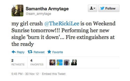 Ricki-Lee has an excited fan in Samantha Armytage!