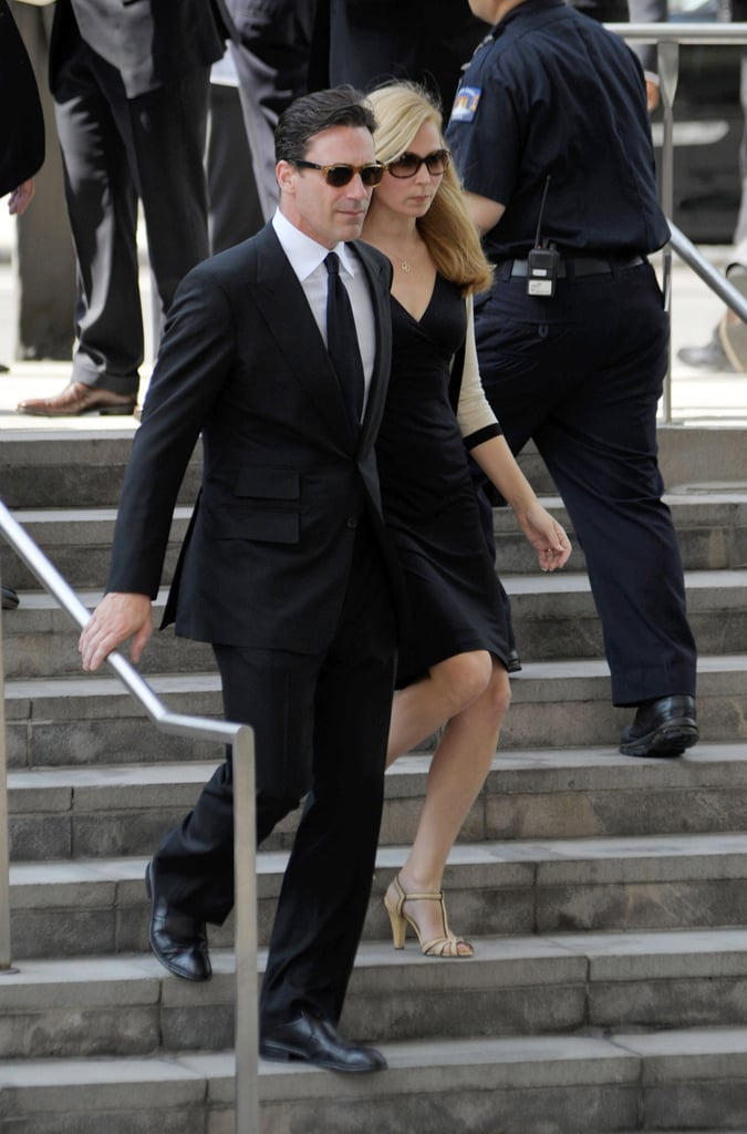 Jon Hamm and his wife also attended the service.