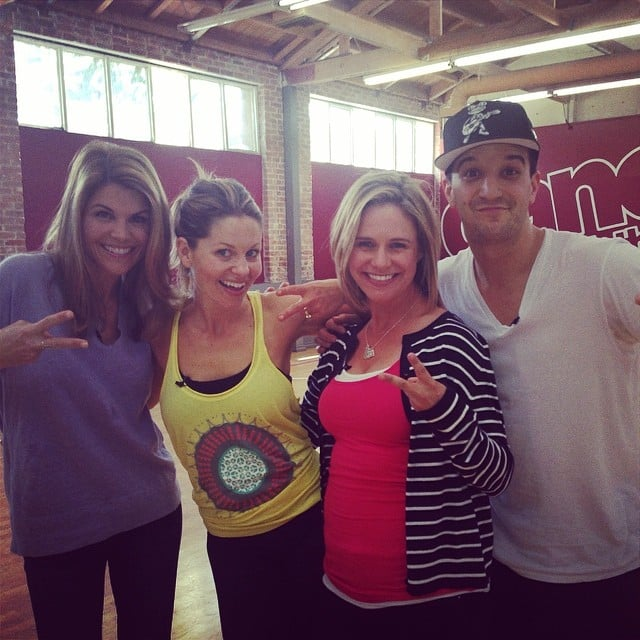"""Candace: """"Look who stopped by rehearsal! @loriloughlin@andreabarber @markballas #dwts @dancingabc"""""""