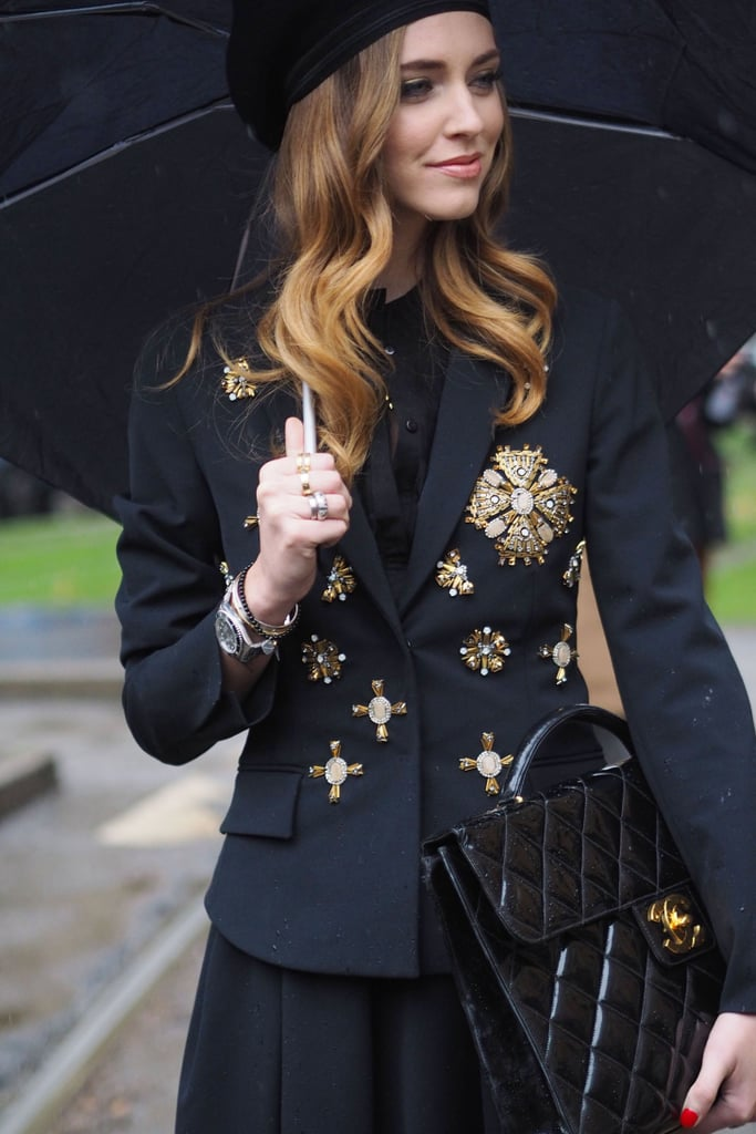 Chiara Ferragni balances both fashion-forward and totally practical accessories.  Source: Tim Regas