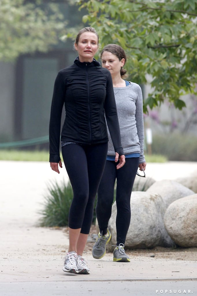 Cameron Diaz buddied up for a light workout in LA on Tuesday.