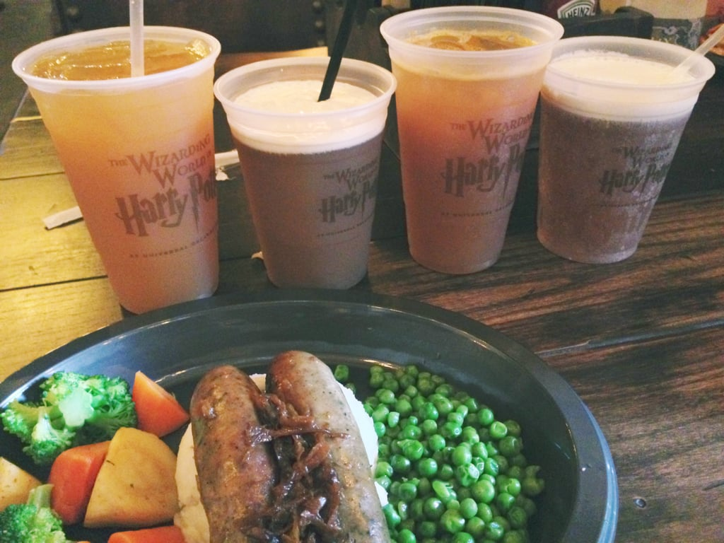 "I tasted the new edible offerings at The Leaky Cauldron, and both the fish and chips and the bangers and mash were quite tasty. I also sipped my way through all the beverages offered, including the Fishy Green Ale, a green mint tea drink with ""fish eggs"" aka boba-sized blueberry juice-filled balls (I wasn't a fan)."