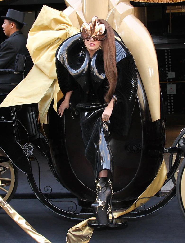 Lady Gaga in Black Latex Dress at 2012 Fame Perfume Launch