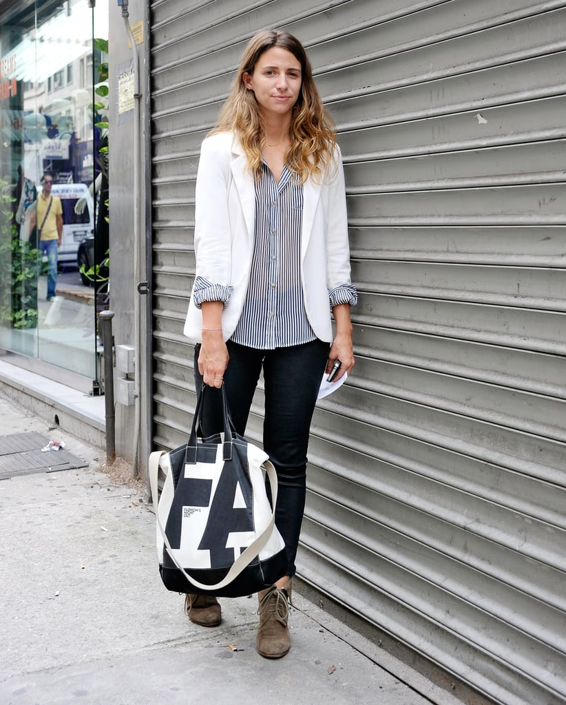 This styler kept it to the point with tailored separates and a cool carryall.