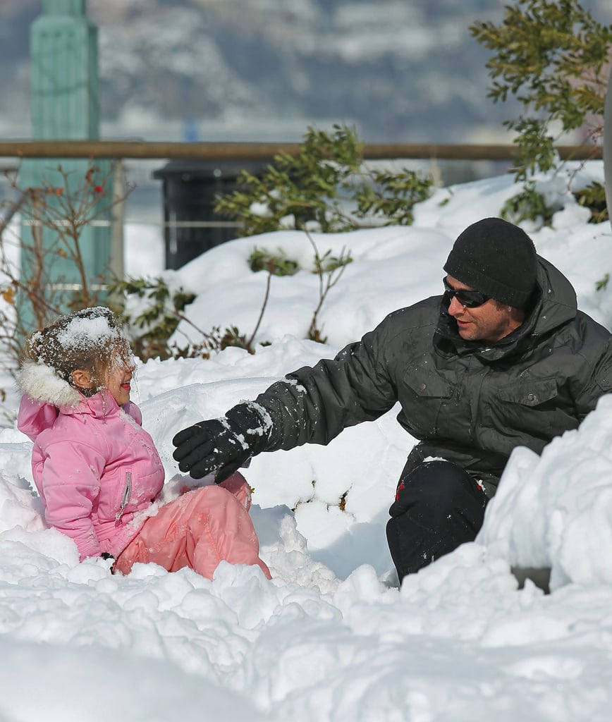 Hugh Jackman and Ava had some fun in the snow during a January 2011 snowstorm in NYC.