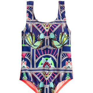 Geometric One-Piece Bathing Suits For Girls