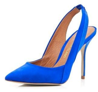 Bright blue pointed sling back court shoes