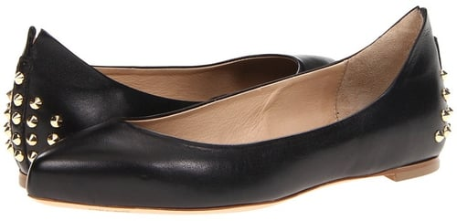 McQ - Studded Pointy Flat (Black Veg Kid Leather) - Footwear