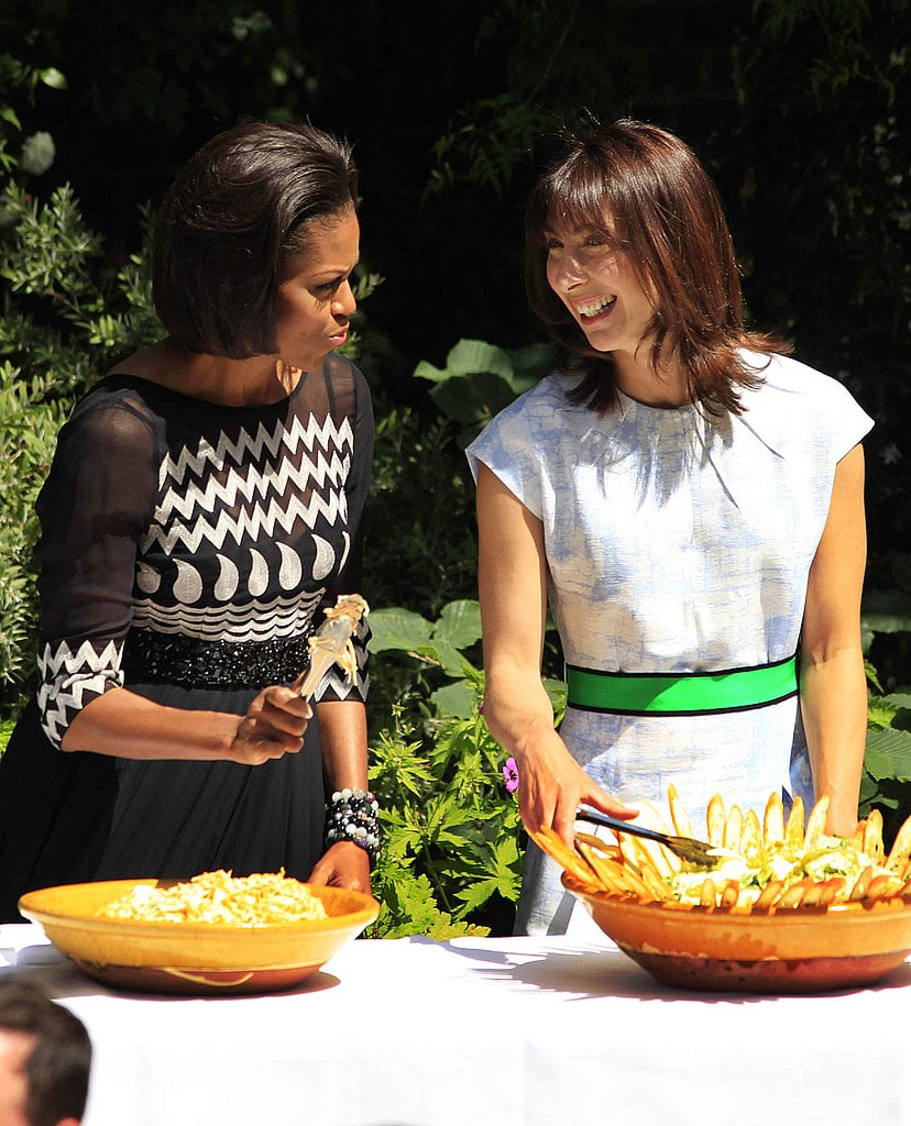 How cute did Michelle look in a printed, black-and-white Tracy Reese dress at a picnic with Prime Minister David Cameron's wife, Samantha?