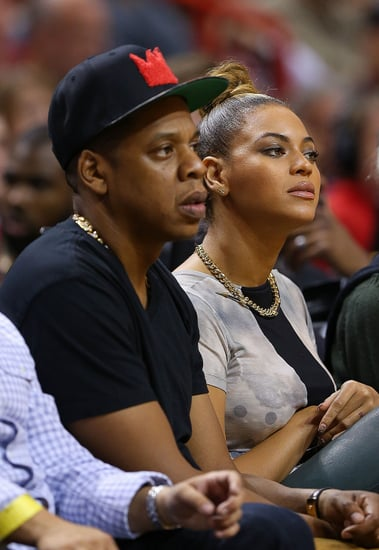 Jay-Z and Beyoncé watched the Miami Heat play the Atlanta Hawks in Miami yesterday.