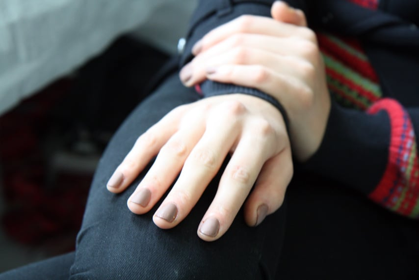 Manicurist Deborah Lippmann created a dusty hue on nails by topping her No More Drama lacquer with a coat of Flat Top for a matte look.