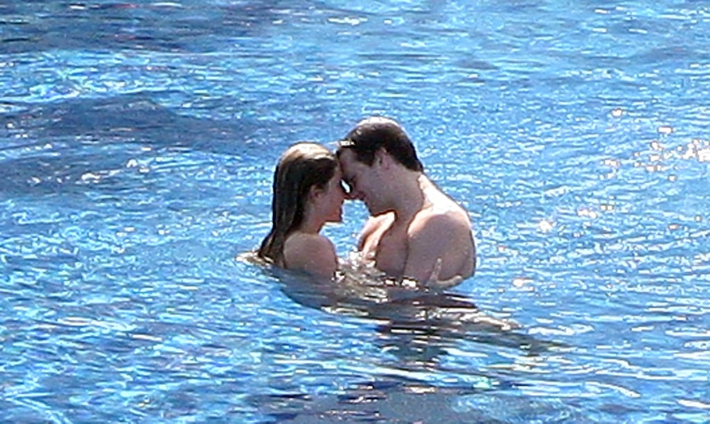 Tom Brady and Gisele Bundchen showed PDA in the pool at their hotel in January 2009.