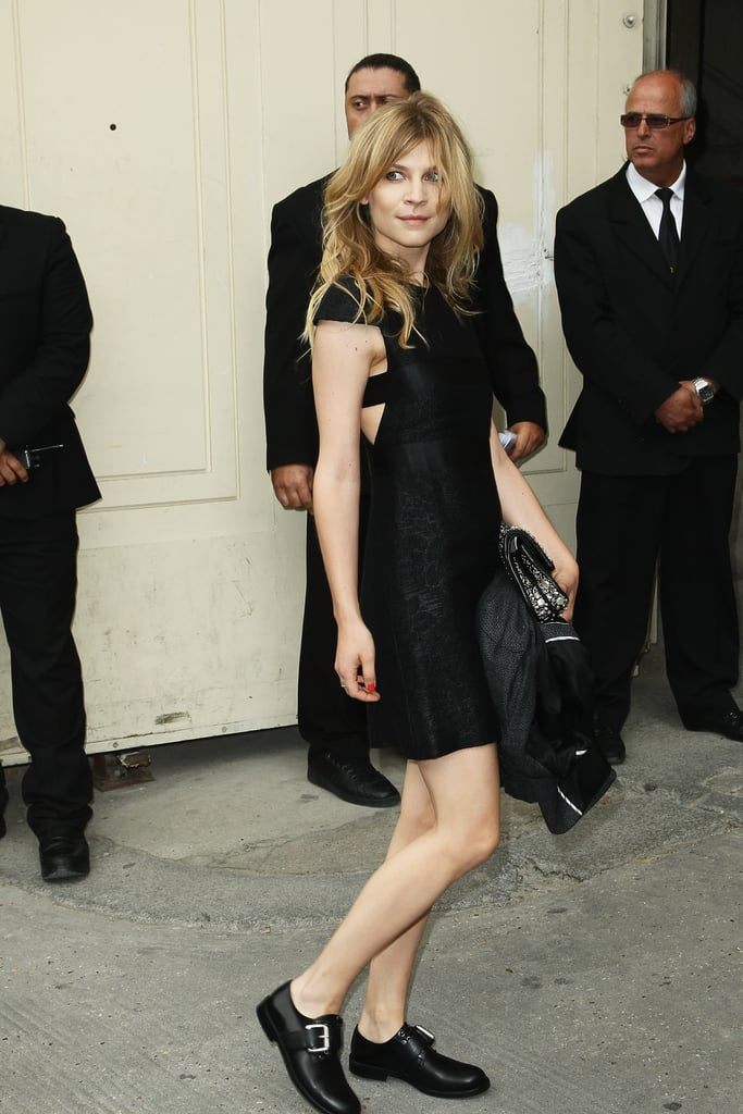 Clémence Poésy arrived at the Chanel show in Paris.