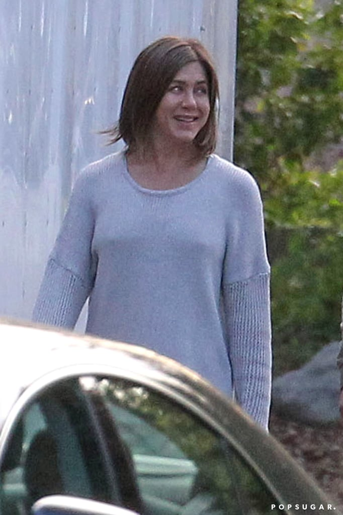 Jennifer Aniston debuted a less-than-glamorous look for her new movie, Cake, in LA.