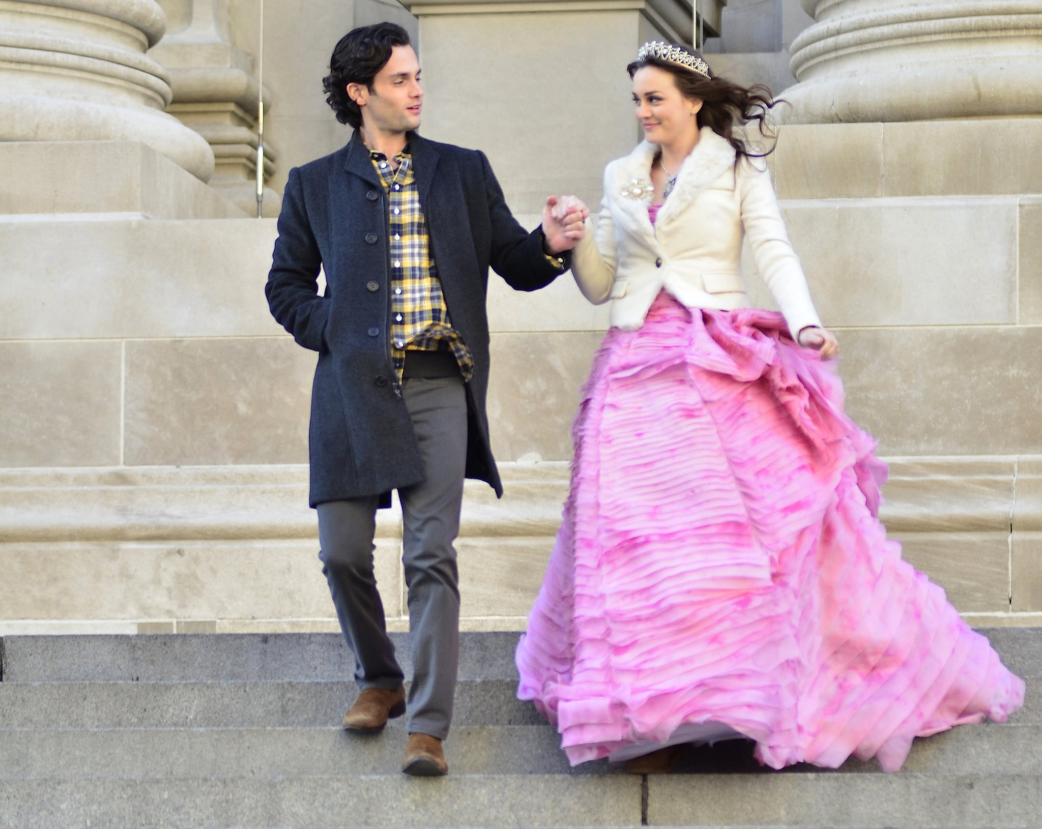 Penn Badgley's Dan Humphrey came to the rescue of Blair Waldorf, played by Leighton Meester, in February 2012.